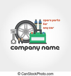 Spare parts - company name - Vector isolated illustration of...