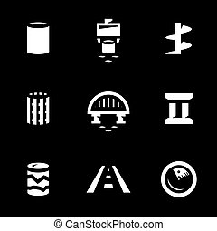 Vector Set of Bridge building Icons. - Pile, vibro-loader,...