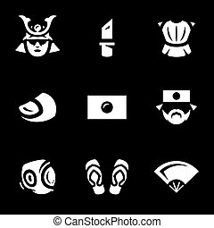 Vector Set of Japan Icons. - Samurai, knife, armor, finger,...