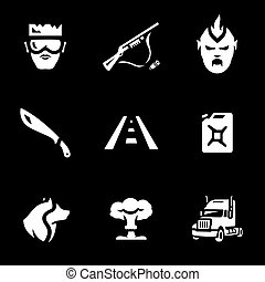 Vector Set of Post-apocalypse road Icons. - Hero, weapon,...