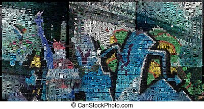 Lady - Abstract painting. Liberty statue, bridge and...