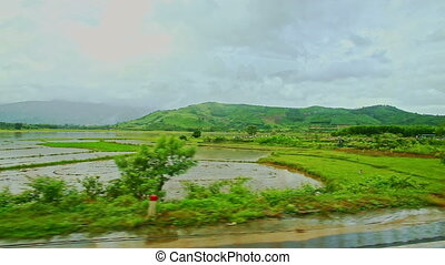 Rural Landscape Rice Fields Villages Roads against Cloudy...
