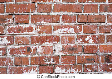 Brick wall, old texture of red stone blocks. Background. -...