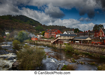 Town in Wales-Llangollen,view on Llangollen rail station