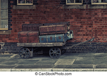 Old luggage on Llangollen Rail Station,Wales - Old luggage...
