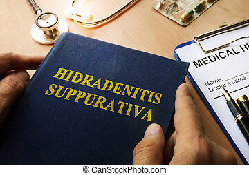 Book with title Hidradenitis Suppurativa on a table.