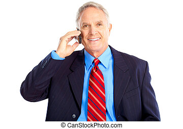 Business man - Smiling handsome businessman talking by...