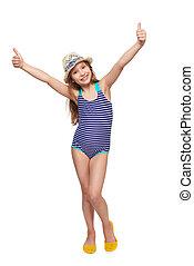 Girl in swimsuit gesturing thumb up - Full length child girl...