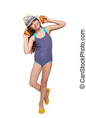 Girl in swimsuit making headphones with oranges - Llittle...