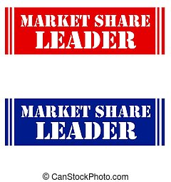 Market Share Leader - Set of label with text Market Share...