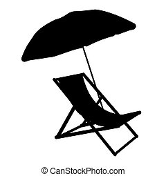 Sunbed with umbrella flat icon. Silhuette Vector...