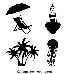 Sea and Tourism flat icon set. Silhuette Vector...