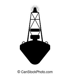 Buoy flat icon. Silhuette Vector illustration.