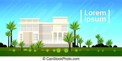 Modern Villa House Building Exterior Real Estate Banner With...