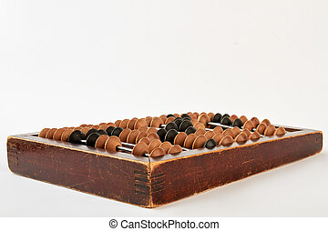 Bookkeeping abacus on white background.