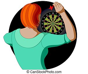 dart player, female, aiming dart at dart board, view from...