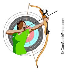 archery female archer with bow and arrow with target in...