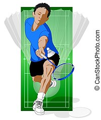 badminton player, male, hitting shuttle with shuttlecock in...