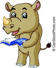 A cartoon rhino holding a book