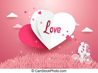Love concept background. White and Red Heart flying over grass with Sweet couple on bicycle