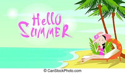 Woman On Beach Hello Summer Vacation Tropical Seaside Ocean View