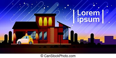 Home Night View With Car Real Estate Residence House...