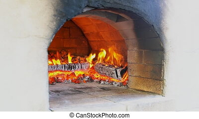 High quality video of bruschetta in brick oven in real 1080p...
