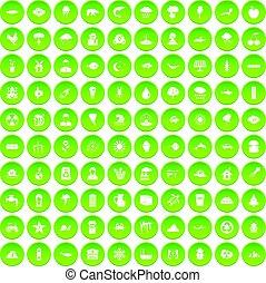 100 earth icons set green circle