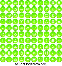 100 craft icons set green circle isolated on white...