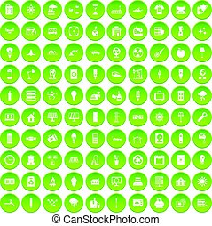 100 electricity icons set green circle