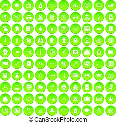 100 criminal offence icons set green circle isolated on...