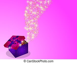 christmas box with stars - illustration of a christmas box...