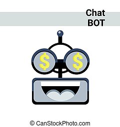 Cartoon Robot Face Smiling Cute Emotion Rich Chat Bot Icon...