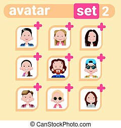 Profile Icon Male And Female Avatar Set, Man Woman Cartoon Portrait, Casual Person Face Collection