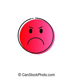 Red Cartoon Face Angry People Emotion Icon - Yellow Cartoon...