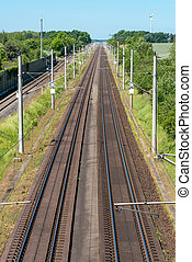 Railroad tracks in Germany - Two highspeed railroad tracks...