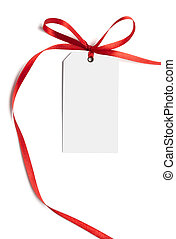 red ribbon card note - close up of white card note with red...