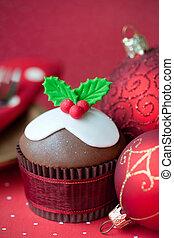 Christmas cupcake - Festive cupcake with red Christmas...