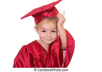 Young scholar - Young toddler scholar dressed in graduation...