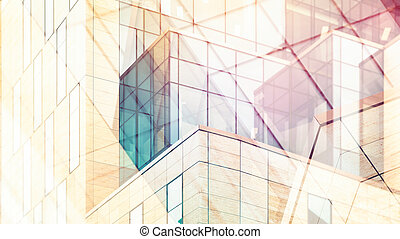 Architectural abstract with warm light and double exposure -...