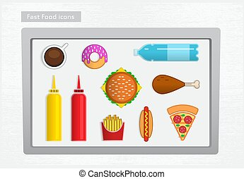 Fast food icons - Colored fast food icons on the white tray