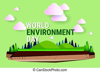 Nature Landscape World Environment Day Ecology Protection Holiday Greeting Card