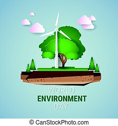 Nature Landscape With Wind Turbine World Environment Day Ecology Protection Holiday Greeting Card