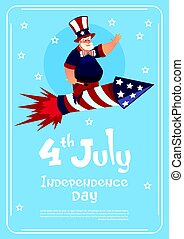 Man Wearing American Flag Colored Hat Ride Firework Rocket Celebrate United States Independence Day Holiday