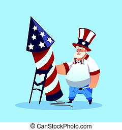 Man Wearing American Flag Colored Hat Holding Firework Rocket Celebrate United States Independence Day Holiday