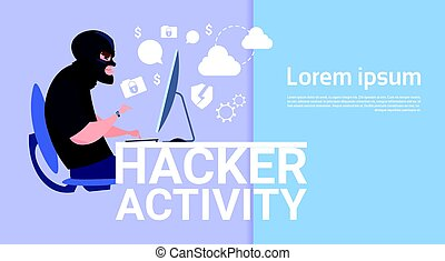 Man Sitting At Computer Hacker Activity Concept Viruses Data Privacy Attack Internet Information Security