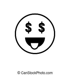 Smiling Cartoon Face People Emotion Show Tongue Icon Vector...