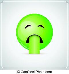 Green Cartoon Face Sick Feeling Bad People Emotion Icon