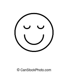 Smiling Cartoon Face Closed Eyes Positive People Emotion...