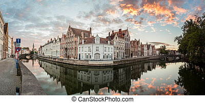 An view at Brugges - By the water in the city of Bruges
